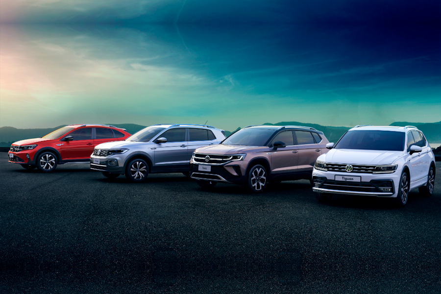 Nivus, T‑Cross, Taos e Tiguan formam o time mais forte de SUVs do País